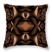 Rich Coffee Fractal Roses Throw Pillow
