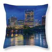 Richmond Skyline Above James River At Night 11972 Throw Pillow
