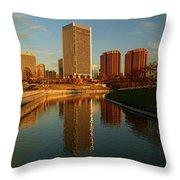 Richmond Skyline And Canal Throw Pillow