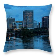 Richmond Skyline At Nightfall 11908t Throw Pillow