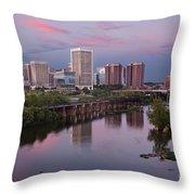 Richmond Skyline Sunset Pink Throw Pillow