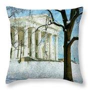 Richmond Virginia Capitol In Snow Throw Pillow