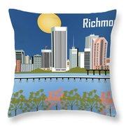 Richmond Virginia Horizontal Skyline Throw Pillow