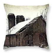 Rickety Old Barn Throw Pillow by Stephanie Calhoun