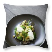 Ricotta And Salad With Herbs On Rye Bread Throw Pillow
