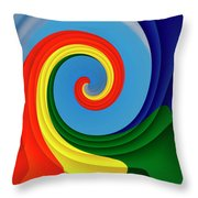 Ride The Wave - Colorful Digital Design Throw Pillow