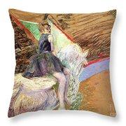 Rider On A White Horse Throw Pillow by Henri de Toulouse Lautrec