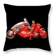 Rider On Red Motorbike Throw Pillow