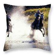 Riders In A Creek Throw Pillow