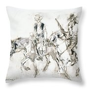 Riders In Brown Throw Pillow