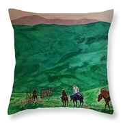 Riders In The Andes Throw Pillow