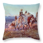 Riders Of The Open Range Throw Pillow by Charles Marion Russell