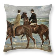 Riders On The Beach Throw Pillow