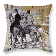 Riders On The Way To The Bois Du Bolougne Throw Pillow