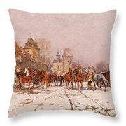Riders Outside A Village In A Winter Landscape Throw Pillow