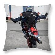 Riding A Wheelie Throw Pillow