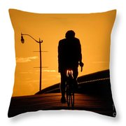 Riding At Sunset Throw Pillow