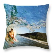 Riding Barrel At Makena Throw Pillow