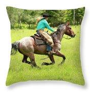 Riding Fast  Throw Pillow