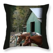 Riding Horses Throw Pillow