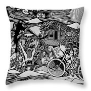 Riding Life In A Old Red Bicycle... Throw Pillow