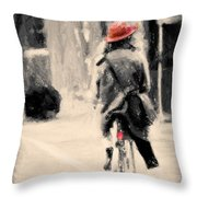 Riding My Bicycle In A Red Hat Throw Pillow