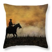 Riding The Fire Line Throw Pillow