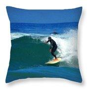 Riding The Waves At Asilomar State Beach Three Throw Pillow