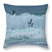 Riding The Waves At Wall Beach Throw Pillow