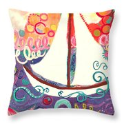 Riding The Waves In Bubbles Of Joy Throw Pillow
