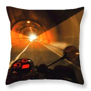 Riding Through One Of The Many Tunnels In The Italian Alps Throw Pillow
