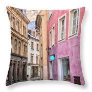 Riga Narrow Road Digital Painting Throw Pillow