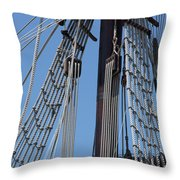 Rigging Aboard The Galeon Throw Pillow
