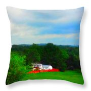 Right Field And Green Meadows Throw Pillow