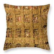Right Half - The Golden Retablo Mayor - Cathedral Of Seville - Seville Spain Throw Pillow