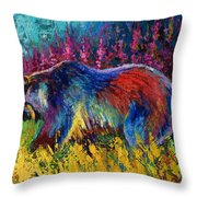 Right Of Way - Grizzly Bear Throw Pillow