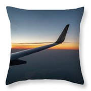 Right Wing Of Airplane In Mid Air With Sunrise In The Background Throw Pillow