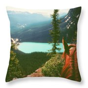 Rim-riding O'er The Canadian Rockies Throw Pillow