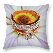 rings on white daisy love Valentine's Day  gerbera and wedding gold  Throw Pillow