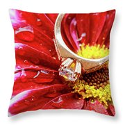 rings pink dahlias love Valentine's Day Tinted  and softened - diamond wedding  Throw Pillow