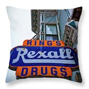 Ring's Rexall Drugs  Throw Pillow
