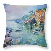 Riomaggiore Cinque Terre Italy Throw Pillow