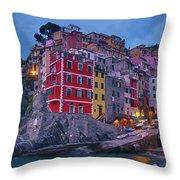 Riomaggiore In Cinque Terre Italy Painterly Throw Pillow