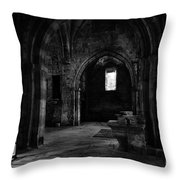 Rioseco Abandoned Abbey Naves Bw Throw Pillow