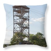Rip Line Tower At Coba Village Throw Pillow
