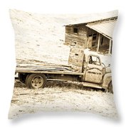 Rip Old Truck In Field Throw Pillow