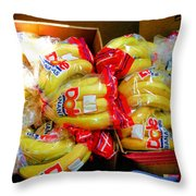 Ripe Bananas In A Box At The Store Throw Pillow