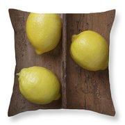Ripe Lemons In Wooden Tray Throw Pillow