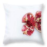 Ripe Pomegranate Fruit On A White Background Throw Pillow