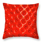 Ripe Red Fresh Strawberry Texture And Detail Throw Pillow